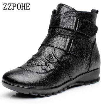 ZZPOHE Winter Shoes Women Flats Ankle Boots Woman Fashion Genuine Leather Wedges Boots Mother Casual Non-slip Warm Snow Boots