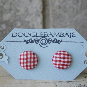 Gingham Picnic Design- Vintage Red and White Gingham Checkered Plaid Stripes Lines Fabric Button Earrings- Wedding Bridesmaids Gift - Summer by DoogleBambaje
