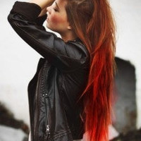 SIREN sexy red and auburn ombre NEW for FALL 2012/ human hair extensions/ clip-in hair/ dip dye ombre hair extension wefts