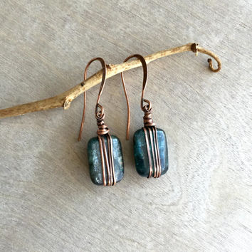 kyanite earrings and copper wire Dangle earrings  Bohemian earrings  Rustic earrings