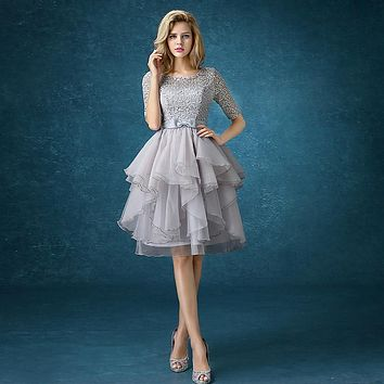 drnwof Half Sleeve Grey Bridesmaid Dresses 2017 New Free Shipping Party Prom Back Lace up women dress