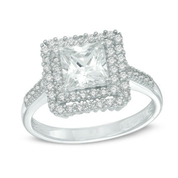 6.0mm Princess-Cut Lab-Created White Sapphire Double Frame Ring in Sterling Silver - Size 7