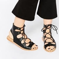 ASOS FAYE Ghillie Tie Leather Sandals