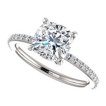 eliza ring - new forever one 2 carat cushion cut moissanite engagement ring, diamonds, 14k white gold