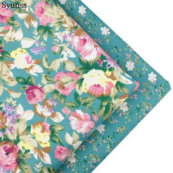 Syunss Cotton Fabric Fat Quarte DIY Handmade Sewing Patchwork Baby Cloth Bedding Textiles Quilt Tilda Tissus Blue Floral Print