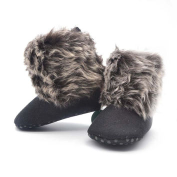 Infant Baby Fleece Snow Boots Toddler Kids Wool Fur Shoes Prewalker 0-18M Y2 SM6