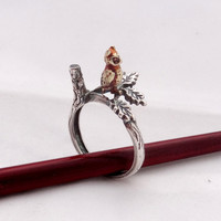 Silver Ring Owl on the Branch, Sterling silver Branch ring, Night Owl on the Silver Branch Brass Owl in the Forest, Nature Ring, Animal Ring