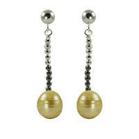 11-12mm Natural Golden South Sea Pearl Earrings, in Sterling Silver
