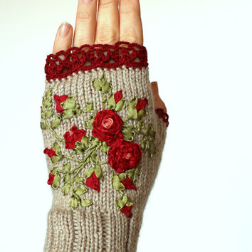 Hand Knitted Fingerless Gloves, Gloves & Mittens, Gift Ideas, For Her, Winter Accessories, Red, Grey,Rose, Ribbon Embroidery, Cozy