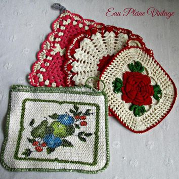 Crocheted Pot Holders Hot Pads Set Four Vintage Kitchen Decor