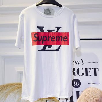 LV X Supreme summer han edition of the style 100 - letter printed loose fashion short - sleeved cotton T - shirt blouse