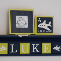 "Airplane Decor Art, Personalized Airplane Nursery, Custom 24"" Navy Blue Shelf with 6 Lime Green and Navy Painted LUKE with Airplane Plaques"