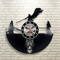 Final Fantasy VII Katane Engage Vol 2 Black Vinyl Clock Home Decor