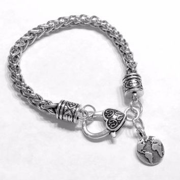 Earth Planet Globe Travel World Valentine Gift Wife Daughter Mom Charm Bracelet