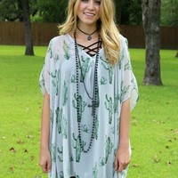 Pretty Little Thing Sheer Cactus Print Open Shoulder Tunic in Grey
