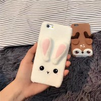 Cute 3D Christmas Deer Rabbit Kitty Paw Plush Furry Soft Cases for iPhone 7 7 Plus 6 6s 6 6S Plus Girls Coque Fundas