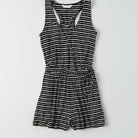 AEO Striped Wrapped Romper , Black