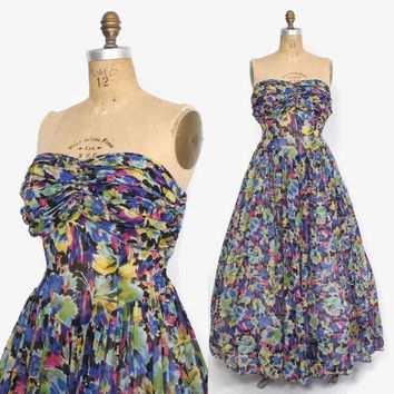 Vintage 40s Strapless Floral DRESS / 1940s Bright Semi Sheer Silk Chiffon Ruched Evening Gown M - L