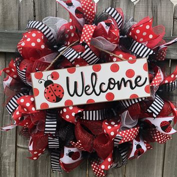 Ladybug Welcome Wreath, Everyday Wreath Spring Wreath, Door Decor, Door Hanger