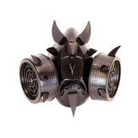 Black Devil Horns & Claws Gas Mask Respirator Cyber Goth Cosplay