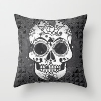 Black and white Skull Throw Pillow by MehrFarbeimLeben