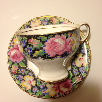 Vintage Paragon Needlepoint Gingham Rose Teacup and Saucer Set Fine Bone China England