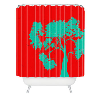 Madart Inc. Modern Design Red And Aqua Shower Curtain