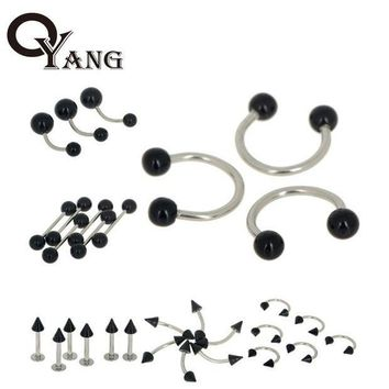 ac PEAPO2Q OYang Fashion 30pcs/Lot Black Acrylic Body Piercing Jewelry Belly Nose Rings Ear Tongue Barbell Lip Labret Eyebrow Ring 4