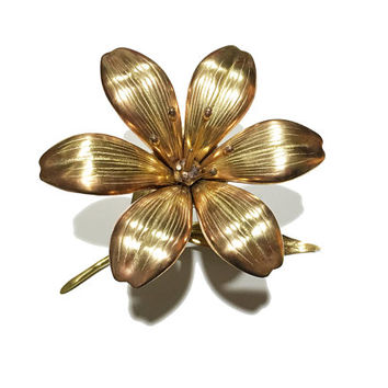 1970s Brass Lilly Ashtray / Vintage Sculptural Flower Art / Gold Home Accent / Hollywood Regency / Removable Petals