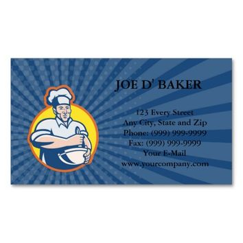 Business card Cook Chef Baker With Mixing Bowl Ret