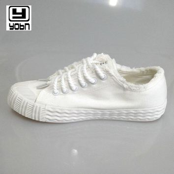 YOBN 2018 Women's Vulcanize Shoes female low canvas shoes women fashion breathable white cloth casual shoes solid shoes woman