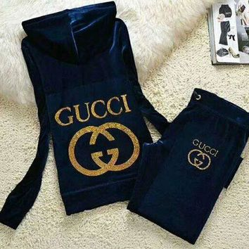 DCCKB62 Gucci Fashion Casual Long Sleeve Zipper Hoodie Long Pants J Velvet Two Piece Set Sapphire G-ALNZ