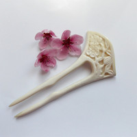 Hair Fork, Sakura, Cherry Blossom, Japanese, Kanzashi, Geisha, Hair stick, handmade, hand carved bone, white, natural accessoris, MariyaArts