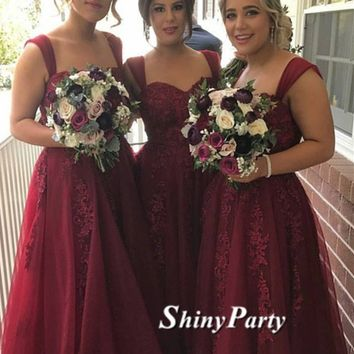 Custom Made Lace Long Maroon Prom Dresses With Straps, Maroon Lace Bridesmaid Dresses With Straps