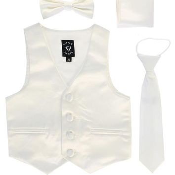 Ivory Satin Boys 4-pc Vest Set w. Ties & Pocket Square 3M-14