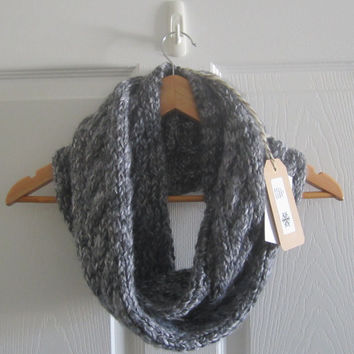 Cable Knit Scarf - Grey Infinity Scarf - Wool Blend Scarf - Hand Knit Scarf - Cabled Scarf - Winter Scarf - Warm Scarf - Eternity Scarf
