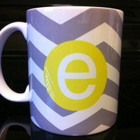 Coffee Mug - Gray Chevron with Yellow Monogram Coffee Mug - Custom Coffee Mug - Personalized Mug