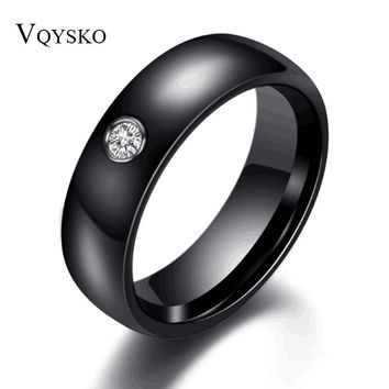 Fashion Men Women Black White Colorful Ring Ceramic Ring For Women With Big Crystal Wedding Band Ring Width 6mm Size 6-10 Gift