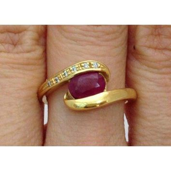 Luxinelle Yellow Gold Diamond Twist Ring with Oval Cut Ruby in 18K  by Luxinelle® Jewelry