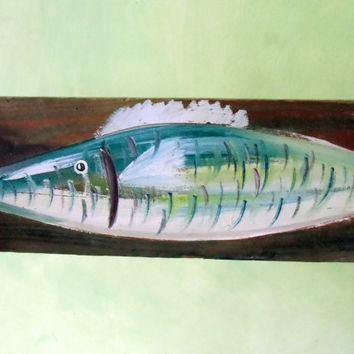 Blue painting driftwood fish Sign Wooden Destressed Wall Art Beach Coastal Sign Outdoor And Indoor Beach Decor