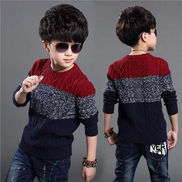 5-14T Boys Cotton Sweater Kids Knitwear Boys Sweater Children Fashion Pullover Sweater Winter Cardigans Boys Sweaters