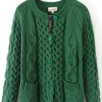 Green Patchwork Pockets Long Sleeve Cardigan