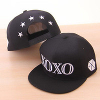 New EXO XOXO Letters Cute Sport Hip-hop Baseball Hat Peak Cap Hat-023-BK