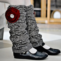 Bricolage Girls Black and White Houndstooth French Leg Warmers with Red Velvet Flower Brooch Ready to Ship Girls 3-5 years