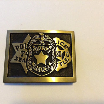 Seattle Police Belt Buckle Rainbow Metals