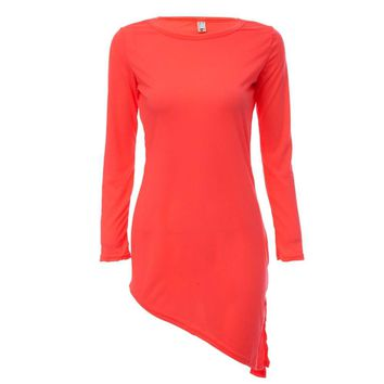 Simple Scoop Collar Long Sleeve Solid Color Bowknot Mini Dress for Ladies