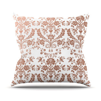 "KESS Original ""Baroque Rose Gold"" Abstract Floral Outdoor Throw Pillow"