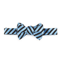 Thin Striped Textured Bow Tie, Blue