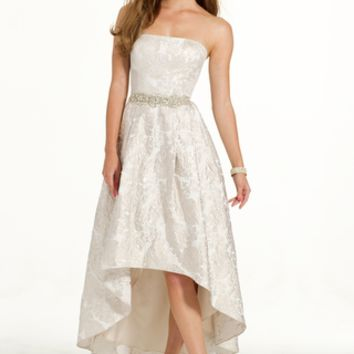 Strapless Brocade Hi-Low Dress