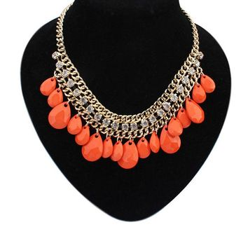 Match-Right Pendants Women Statement Necklace Link Chain Water Drop Colar Pendant